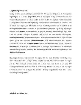 Lagstiftningsprocessen i Sverige | Sammanfattning