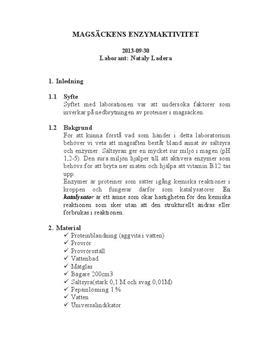 Enzymaktivitet i magsäcken: Nedbrytning av pepsin | Labbrapport