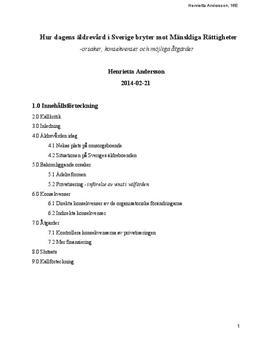 Äldrevården i Sverige   Brott mot mänskliga rättigheter   Rapport