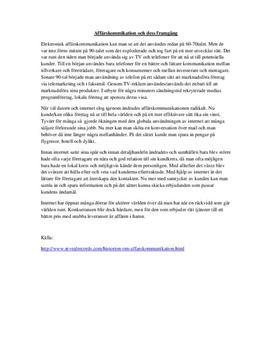 Elektronisk affärskommunikation | Fördjupningsuppgift
