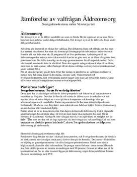 Valfråga: Äldreomsorg | Sverigedemokraterna och Vänsterpartiet | Jämförelse