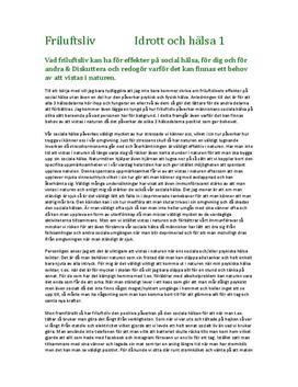 Friluftsliv | Fördjupningsuppgift
