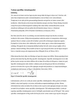 Vattnets specifika värmekapacitet | Labbrapport i Fysik 2