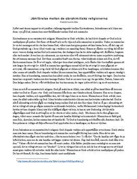 De abrahamitiska religionerna | Jämförande analys