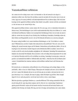 Tillgången till vatten: Konflikter om vattenförsörjning | Diskuterande text