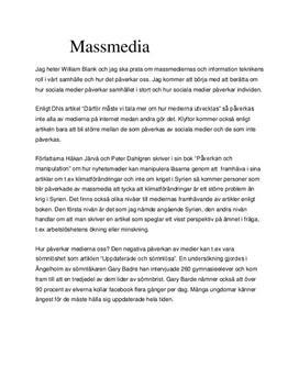 Massmedia och sociala medier - hur påverkar de oss? | Tal