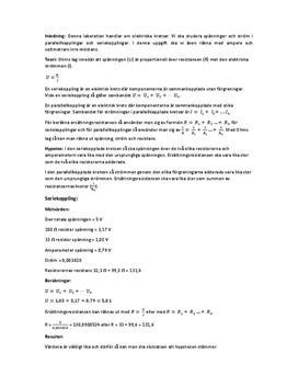 Ellära: Serie- och parallellkoppling |Labbrapport