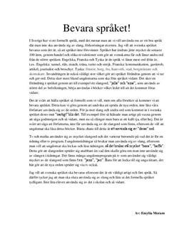 Bevara det svenska språket | Insändare