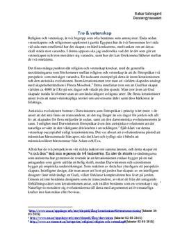 Förhållandet mellan tro och vetenskap | Utredande text