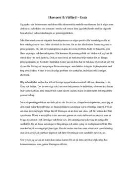 Ekonomi & välfärd   Essä