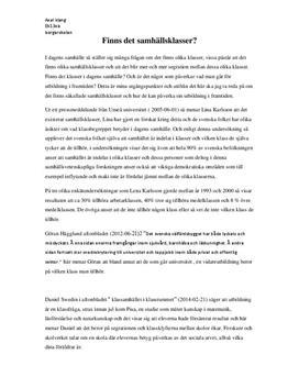 Finns samhällsklasser? | Utredande text