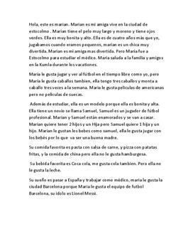 Presentation av en person på spanska | Inlämningsuppgift