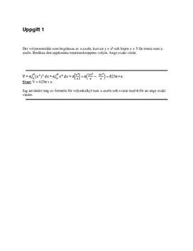 Volym, area, integraler, differentialekvationer | Inlämningsuppgift