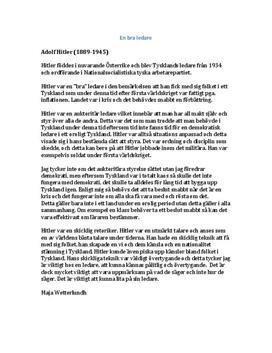 Hitler som ledare | Diskuterande text