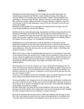 Buddhismen: Kännetecken | Jämförelse med kristendomen | Fördjupningsuppgift