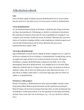 Psykologi: Alkoholmissbruk | Fördjupningsarbete
