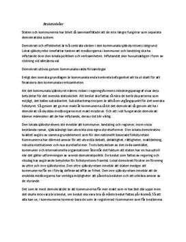 Kommunalt självstyre i Sverige | Sammanfattning