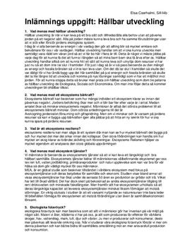 Ekosystem och hållbar utveckling | Frågor och svar