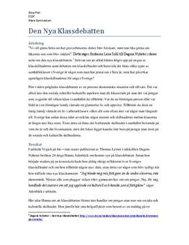 Den nya klassdebatten | Utredande text