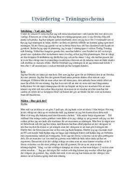Utvärdering av träningsschema | Styrka, kondition och rörlighet