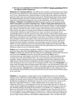 Buddhismen och hinduismen | Instuderingsfrågor