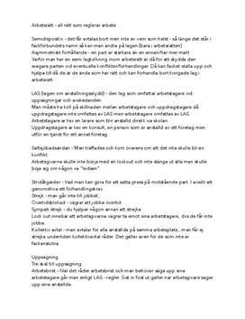 Begrepp inom arbetsrätt | Sammanfattning