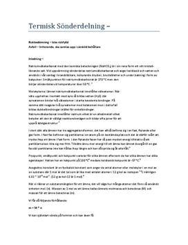 Termisk sönderdelning | Labbrapport