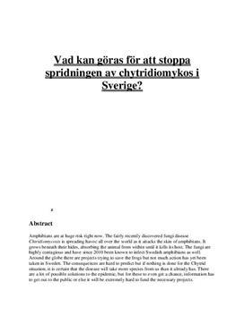 Gymnasiearbete: Amfibiesjukdomen Chytridiomykos
