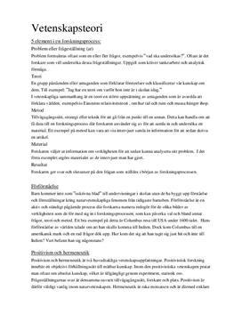Vetenskapsteori | Positivism och hermeneutik | Samhällsvetenskap
