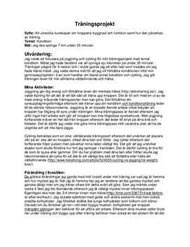 Träningsprojekt: Joggning och cykling