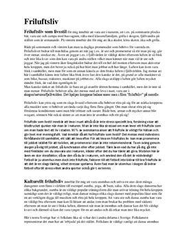 Friluftsliv: Livsstil, kultur och social träning | Inlämningsuppgift
