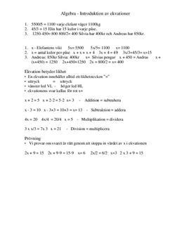 Algebra: Ekvationer | Inlämningsuppgift