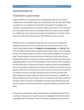 Tvåspråkighet: Gratis kunskap | Argumenterande text