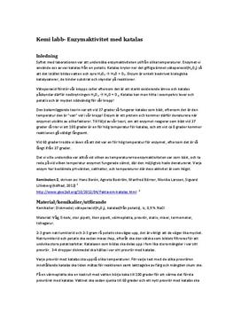 Enzymaktivitet med katalas | Labbrapport