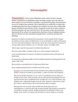 Trigonometri, Integraler, Algebra | Fördjupningsuppgift