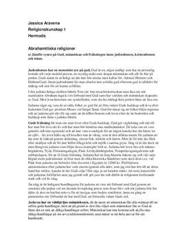 De abrahamitiska religionerna: Guddsyn, profeter, Jerusalem| Instuderingsfrågor