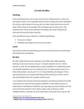 Livstil och hälsa: Rökning | Fördjupningsuppgift