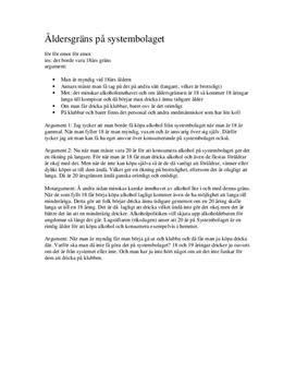 18 års text 18 års åldersgräns på Systembolaget | Argumenterande tal  18 års text