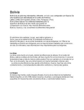 Bolivia | Fördjupningsuppgift
