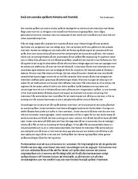 Svenska språkets historia och framtid | Essä