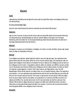 Filtrering och avdunstning | Sand och salt | Labbrapport