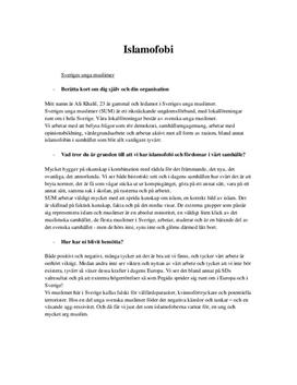 Islamofobi: Intervju med muslimer och personlig reflektion | Inlämningsuppgift