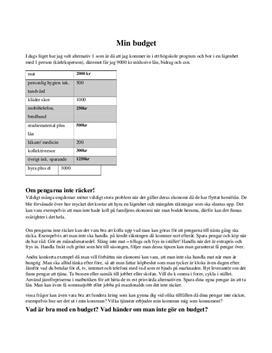 Min budget | Fördjupningsuppgift