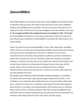 Fördjupningsuppgift: Jämställdhet i Sverige