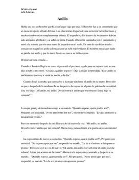 Anillo: Spökhistoria på spanska | Inlämningsuppgift