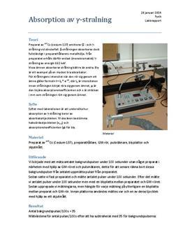 Labbrapport: Gammastrålning (γ-strålning)