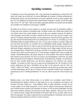 Språklig variation: Sociolekt och dialekt   Utredande text
