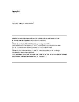 Ekvationer | Proportionalitet | Koordinater | Inlämningsuppgift