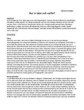 Språklig identitet och tvåspråkighet: Personlig reflektion | Utredande text