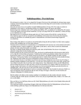 Folkhälsoproblem: Övervikt & Fetma | Friskvård och hälsa | Utredande text